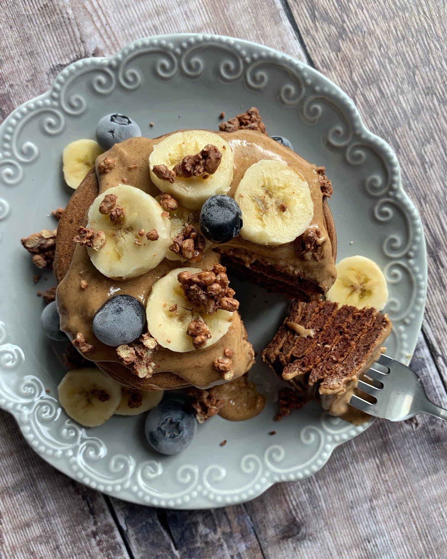 Pancakes Protéinés Chocolat et Cacahuètes